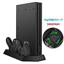 【特価】Siensync  PS4 Pro専用 冷却と充電多機能縦置きスタンド コントローラー2台同時充電 PS4 Pro本体冷却ファン付 USBハブ3ポート 薄型1,572円【家庭用ゲーム】