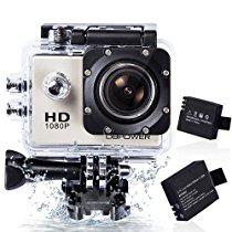 【特価】 DBPOWER ウェアラブルカメラ 12MP 1080P フルHD 1200万画素 170度広角レンズ 30M防水 バイク/自転車/車などに取り付け可能 19個のアクセサリー付 3,468円【デジタルビデオカメラ】